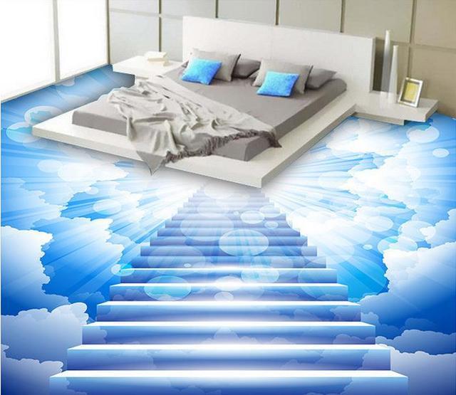 Custom Photo 3D Flooring Cloud Ladder PVC Vinyl Waterproof Self Adhesive Non