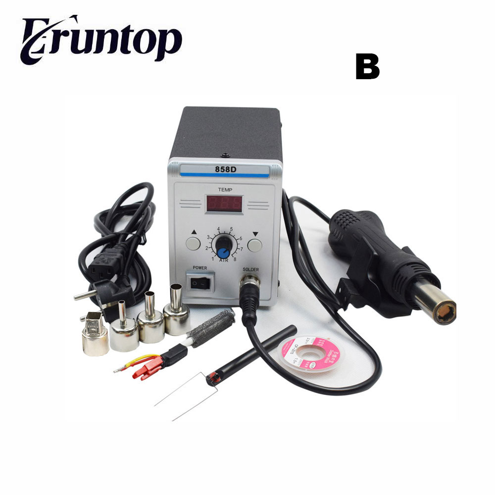 220V EU Plug Lead free SMD Soldering Station LED Digital Solder Iron Hot Air GUN Blowser Eruntop 858D Better than YOUYUE 858D+