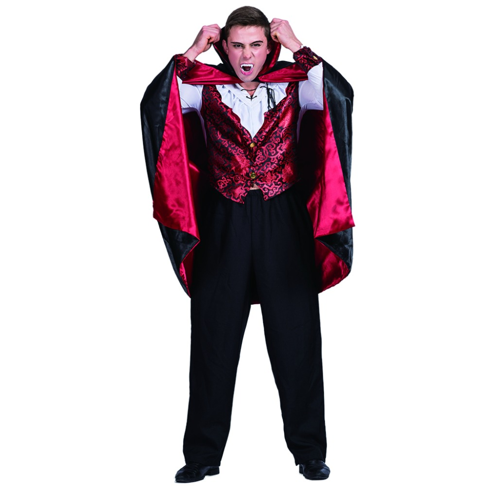 men vampire count dracula gothic costume carnival party adult male cosplay outfits clothing scary devil halloween costumes - Cheap Creepy Halloween Costumes