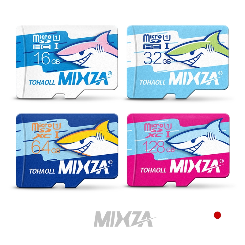 MIXZA Shark Micro SD Card 32GB Class 10 16GB/64GB/128GB Class10 UHS-1 Memory Card Flash Memory Microsd for Smartphone