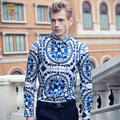 Free Shipping New fashion casual male Men's 2016 spring porcelain stamp SHIRT MENS LONG SLEEVE collar shirts 612001 On Sale