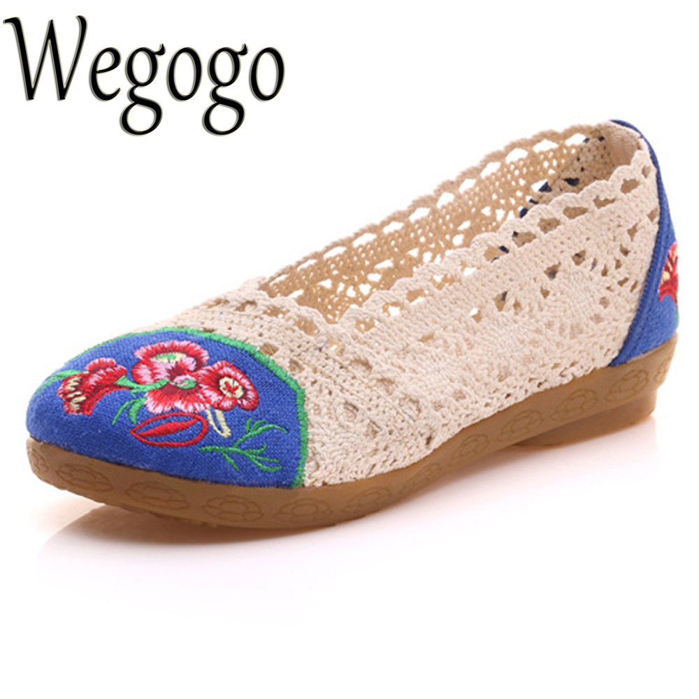 Wegogo Women Shoes Flats Breathable Lace Floral Embroidered Summer Ballets Slip On Ladies Casual Soft Cotton Zapatos De Mujer summer women shoes casual cutouts lace canvas shoes hollow floral breathable platform flat shoe sapato feminino lace sandals