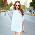 Veri Gude Summer Dress White Dress Women Hollow Out Cotton Dress 3/4 Sleeve Mini Style