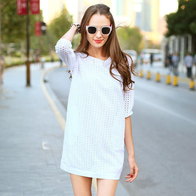 Veri Gude Summer Dress White Dress Women Hollow Out Cotton Dress 3/4 Sleeve Mini Style