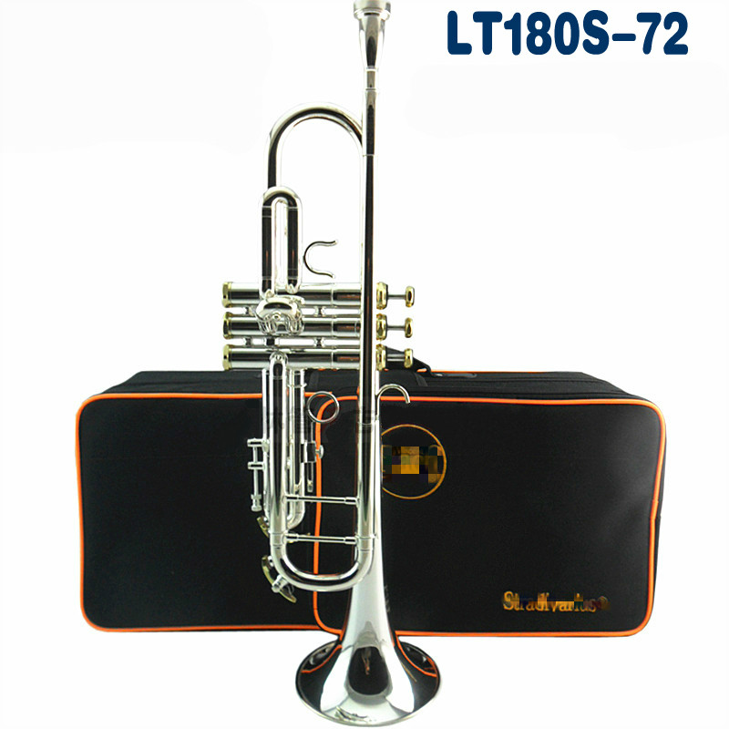 Brand Musical Instrument LT180S-72 Silver Plated Surface Trumpet Small Brass Professional Senior Students Trumpet With Case цена