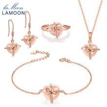 لامون فضة 925 مجموعات مجوهرات حجر كريم روز كوارتز 18K روز مطلية بالذهب غرامة مجوهرات طقم هدايا للنساء V028 B 1