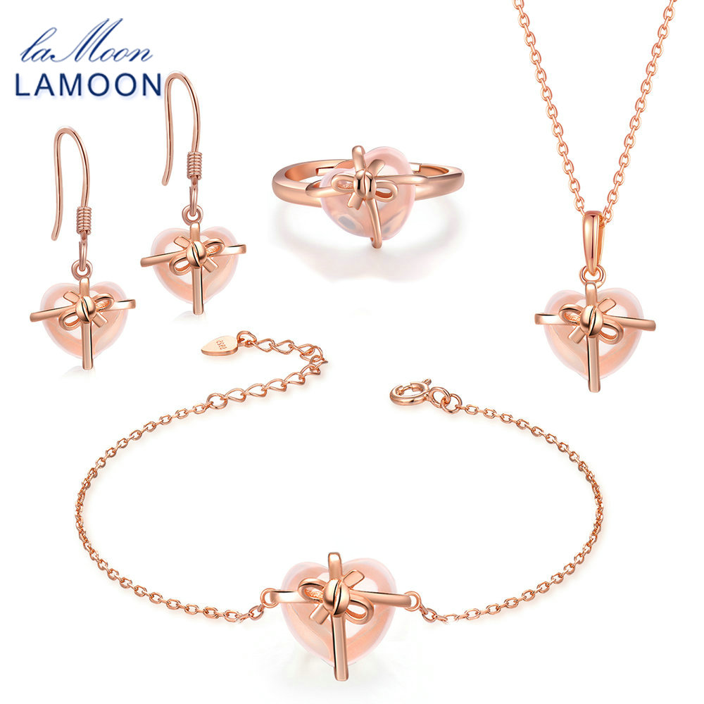 LAMOON Sterling Silver 925 Jewelry Sets Rose Quartz Gemstone 18K Rose Gold Plated Fine Jewelry Gift set For women V028-B-1