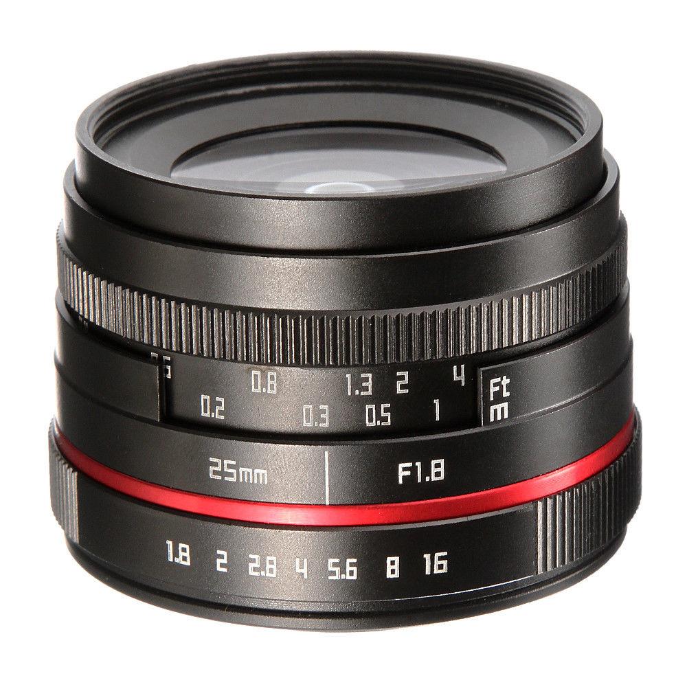 25mm F1.8 primer lente de enfoque Manual para Sony E-mount Mirrorless Cámara A6500 A6000 A5100 A5000 NEX7 NEX6 NEX5