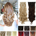 1Set Clip On Hair Extension 61cm 24inch 7+1 pcs/set Natural Hairpiece Hair Piece Long Curly Synthetic Clip In Hair Extensions