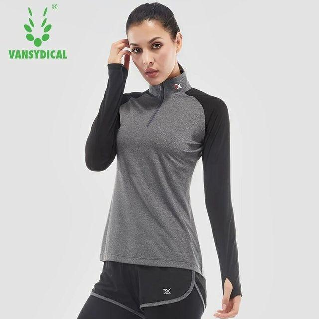b9b0a498b4b Vansydical Fitness Sports T-Shirts for women Sportswear Training Gym  Clothes Women's Yoga Shirts Tops Running Long Sleeve