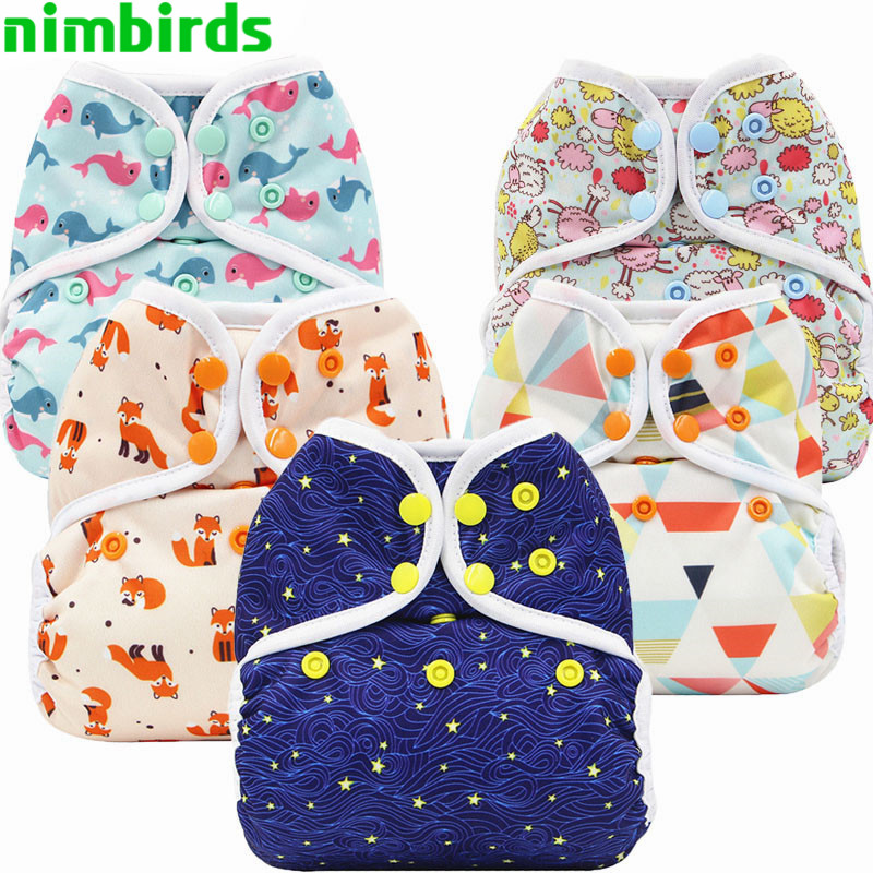 5 PCS Reusable Diaper Cover Double Gussets Cloth Diaper Cover PUL Colorful Printed Washable Nappy Cover Waterproof  For Baby