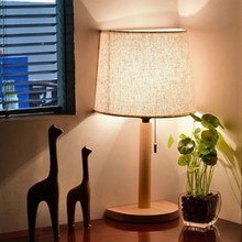 LukLoy Semcircle Base Wooden LED Desk Lamp Bedroom Decoration LED Table Light Fabric Lighting Study Living Room Table Lamp Hotel(China)