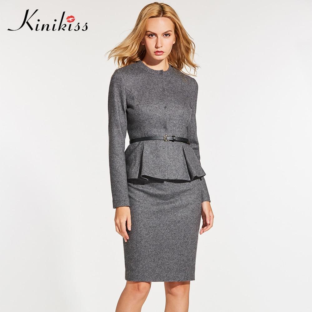 Kinikiss Для женщин элегантный свитер Костюмы комплект из 2 частей куртка Bodycon Юбки для женщин серый костюм офисные вязаный свитер Костюмы с поя...