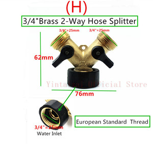 """Image 5 - Fast Shipping 1PC 3/4"""" 4 Way Brass Plastic Garden Hose Splitter Y Type Watering Connector Distributor For Outdoor Tap and Faucet"""