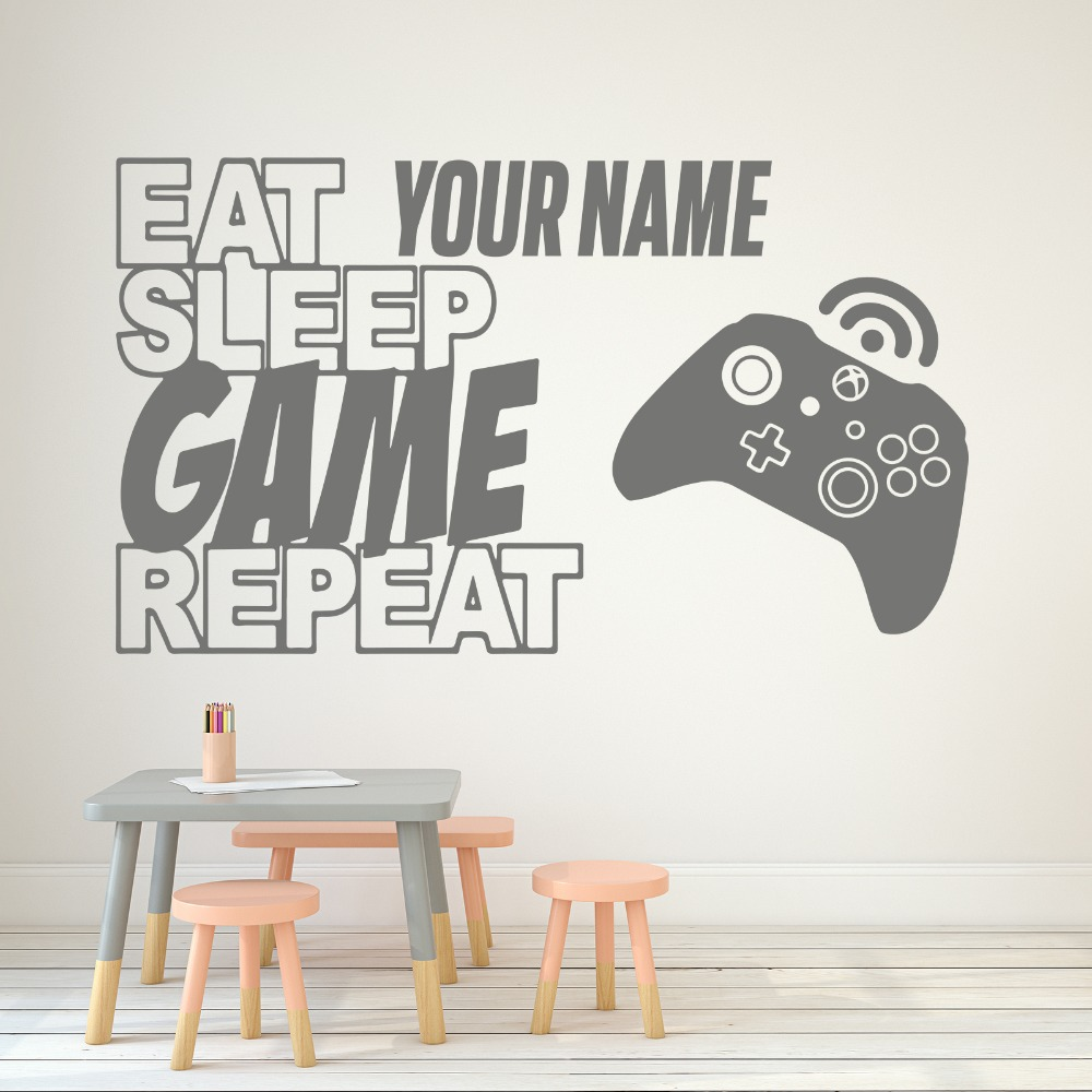 Beautiful Jiangs Yu 1 Pc Gamer Wall Decals Controller Video Game Wall Stickers Eat Sleep Game Kids Bedroom Vinyl Art Sticker Home Decor
