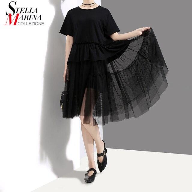 New 2018 Korean Style Women Black Summer Dress Short Sleeve O Neck Knee  Length Girls Loose 37a9bb2915ab