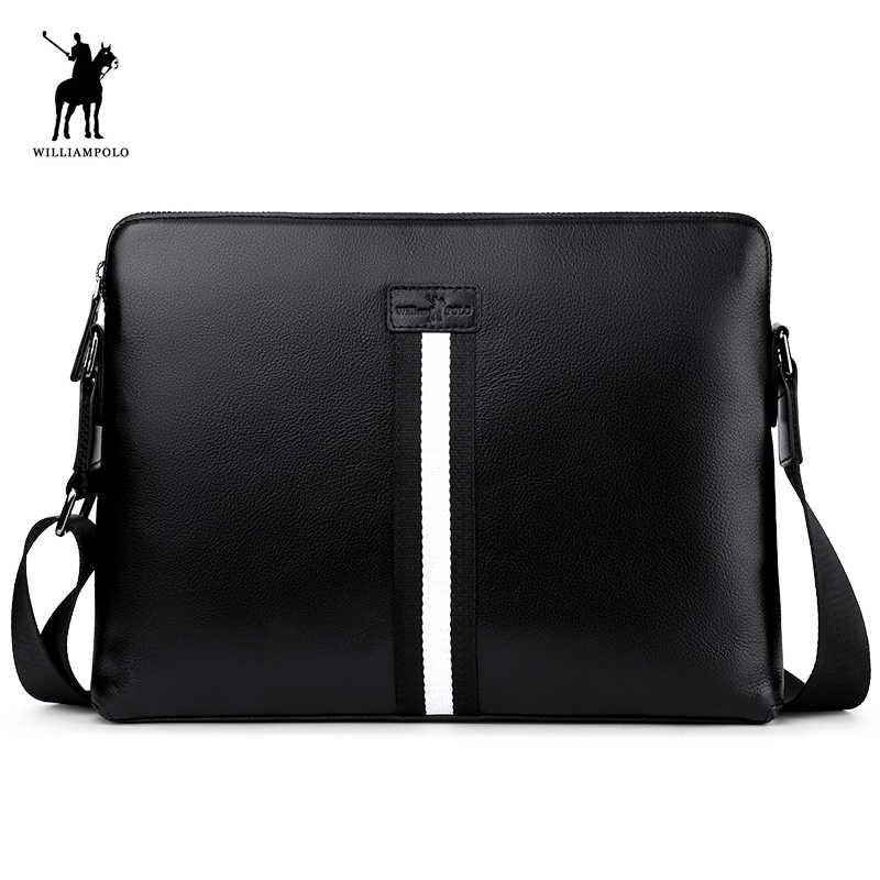 WILLIAMPOLO Men s Genuine Leather Business Bag Men Shoulder Bags High  Quality Male Handbags for Men NEW 8c8f2fc73e347