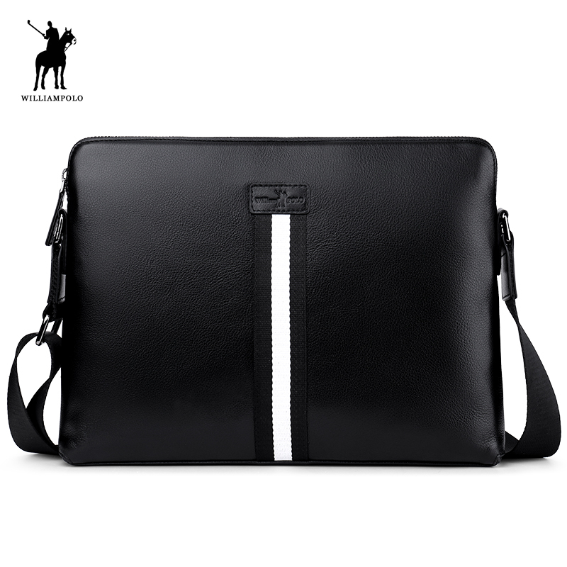 WILLIAMPOLO 2018 Men's Genuine Leather Business Bag Men Shoulder Bags High Quality Male Handbags for Men NEW POLO019D