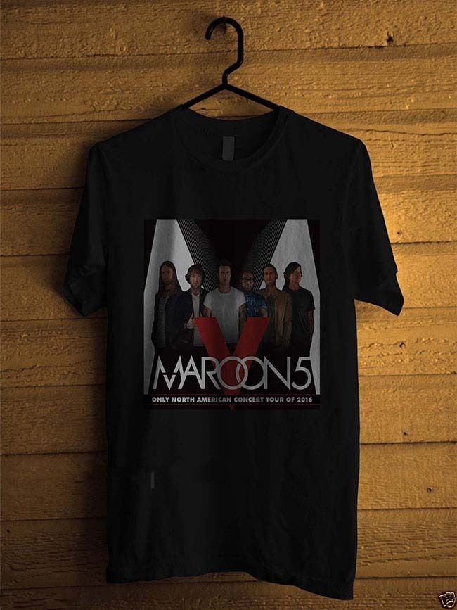 Summer Novelty Cartoon T Shirt MenS Graphic Crew Neck Short-Sleeve Maroon 5 North America Tour Poster Black T Shirts