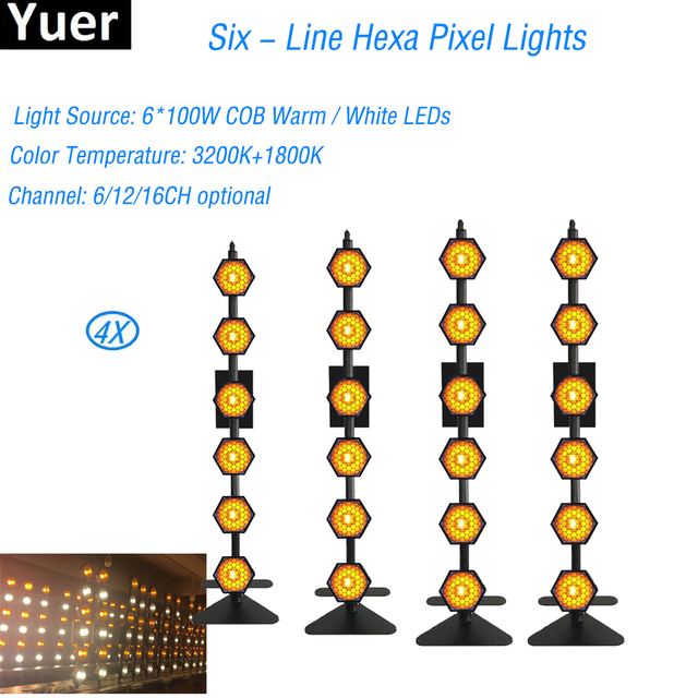 4Pcs/Lot DJ Lamp New Product Six - Line Hexa Pixel Light Retro Stage Flash Light For Home Christmas Laser Projector With Remote