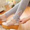 2016 summer mulheres sólida algodão ocasional do tornozelo-comprimento do laço da menina da aptidão leggings confortáveis calças femininas floral mid