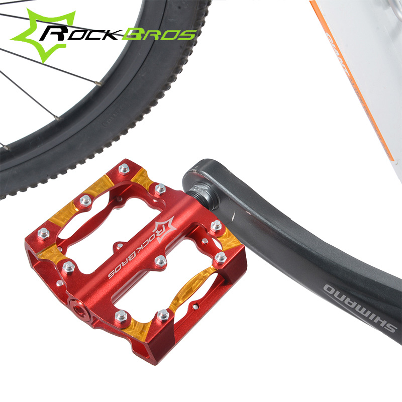 ФОТО ROCKBROS Mountain Bike Bicycle Pedals Aluminum Alloy Bike Pedals Big Foot Road Ride Bike Bearing Pedals Cycle Bicycle Bike Parts