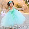 Princesa menta verde vestido da menina flor com gasto headband da flor menina Tutu vestido para festa de casamento de aniversário de páscoa PT82