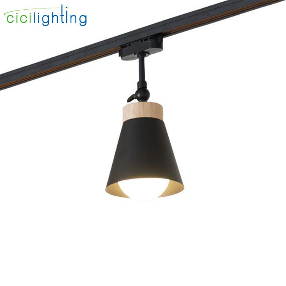 7W E27 LED Track Light Clothing Store Windows Showrooms Exhibition Led Ceiling Lamp Ceiling Rail Wood Decor Tracking Lamp