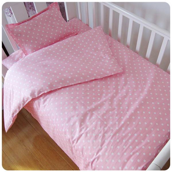 ¡ Promoción! 3 UNIDS Dot sistema Del lecho Del Bebé del pesebre del bebé del estilo lindo bebé cuna juegos de cama (Funda Nórdica/Hojas/Funda de almohada)