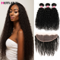 8A Unrocessed Peruvian Curly Hair With Frontal  Closure Curly Hair With Closure  3 Bundles deal 13x4 Full Frontal Lace Closure