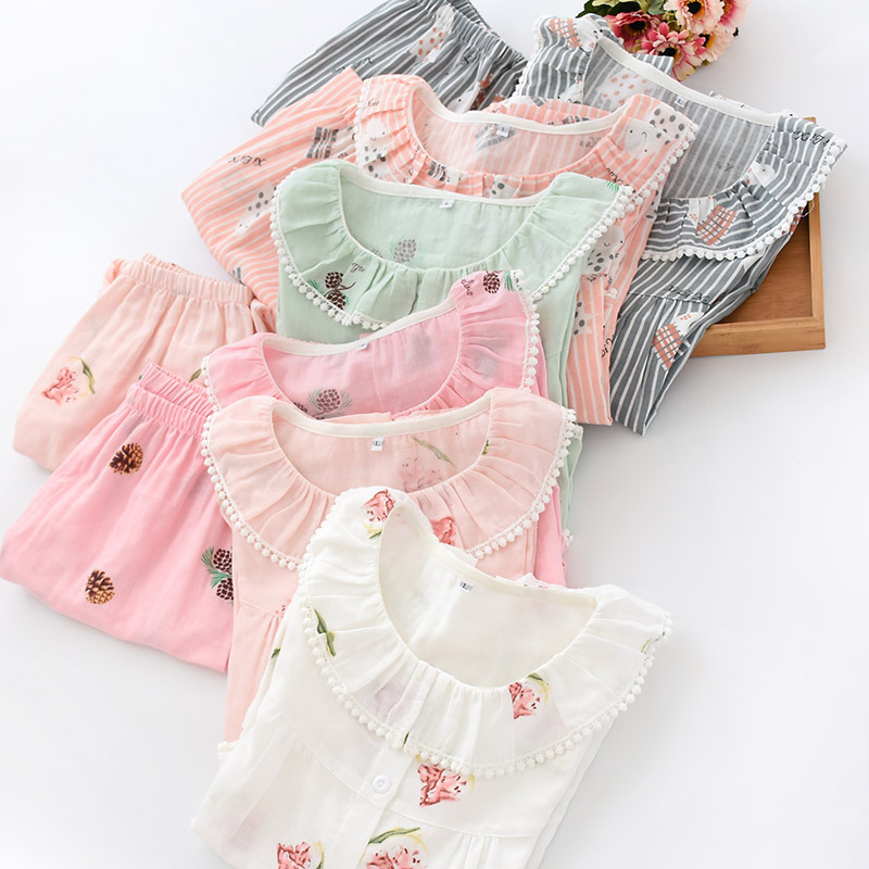 Female Summer Seven-Sleeve Pijama Mujer Pink Pure Cotton Yarn Sleepwear Sexy   Pajama     Sets   Women Korean Cute Sweet Thin Home Suit
