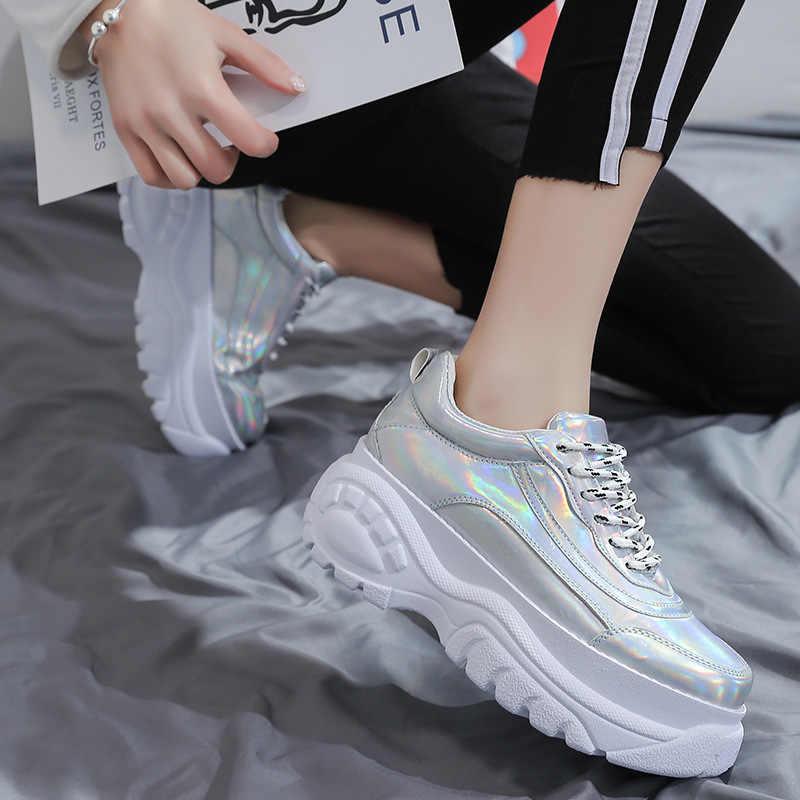 LZJ Women's Chunky รองเท้าผ้าใบ 2019 แฟชั่นสตรีแพลตฟอร์มรองเท้า Lace Up Vulcanize รองเท้าสตรีหญิง Trainers รองเท้าพ่อ Krasovki