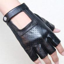 2017 New Summer Men Semi-Finger Gloves Genuine Leather Hole Breathable Half Finger For Women Free Shipping