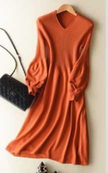2019 봄 가을 최신 스타일 여성 니트 캐시미어 울 스웨터 드레스 롱 스타일 솔리드 컬러 v-칼라 랜턴 슬리브