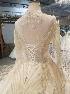 Image 5 - LS17233 royal golden lace wedding gown with crystal necklace o neck long sleeve robe ceremonie femme mariage