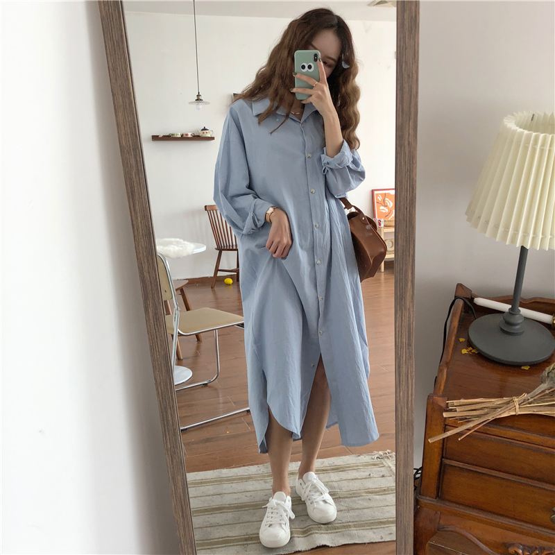 Vintage autumn Long Dress long Sleeve shirt turn down collar woman Lady loose shirt Casual Fashion maxi Dress cotton blue white 1