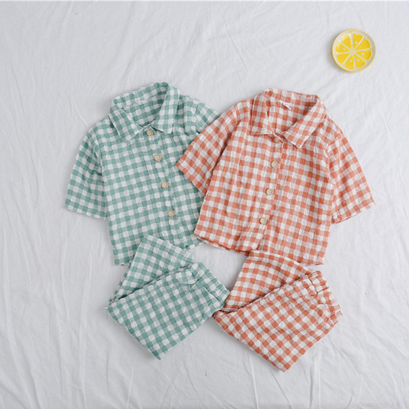 4f0c99d01 ZBAIYH Baby Pijama Infantil Suit Nightwear Cotton and Linen Lattice ...