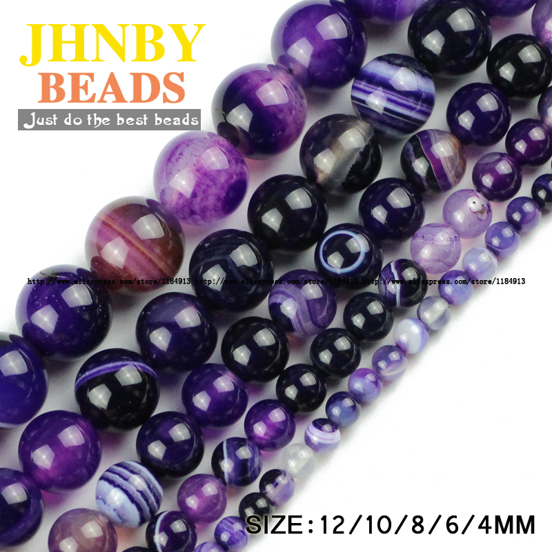 JHNBY AAA Violet Stripe berjenama Natural carnelian Purple Natural Onyx Round Longgar beads 4/6/8/10 / 12MM Membuat gelang perhiasan DIY