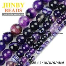 JHNBY AAA Violet Stripe banded Natural Purple carnelian Stone Onyx Round Loose beads 4/6/8/10/12MM Jewelry bracelet making DIY