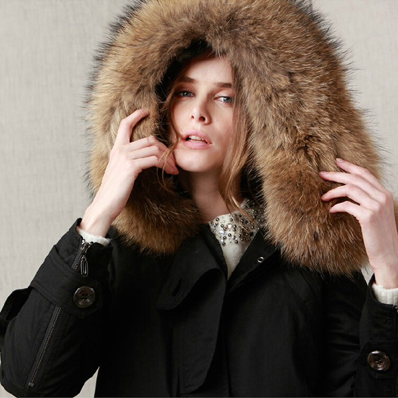 Brand new Arctic 2018 winter jacket coat women's   parkas   army green Large raccoon fur collar hooded woman outwear loose   Parka
