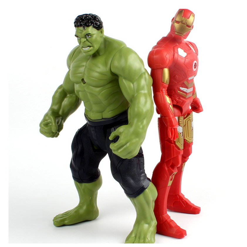2017 New Avengers Super hero Iron Man Hulk Toys With LED Light PVC Action Figure Model Toys  Kids Halloween Gift pair of vintage exaggerated faux gemstone geometric beads earrings for women