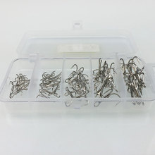 treble hook 50 pcs /lot ganchos pesca Nickel stainless steel fishing hooks with box Barbed fishing hook