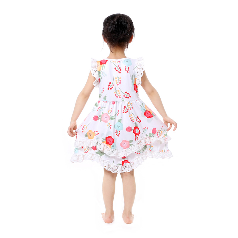Summer Cotton Baby Girls Kids Boutique Clothes Dress Stiped Floral Lace Trim Ruffle Baby Girls Dress Toddler Outfit  (5)