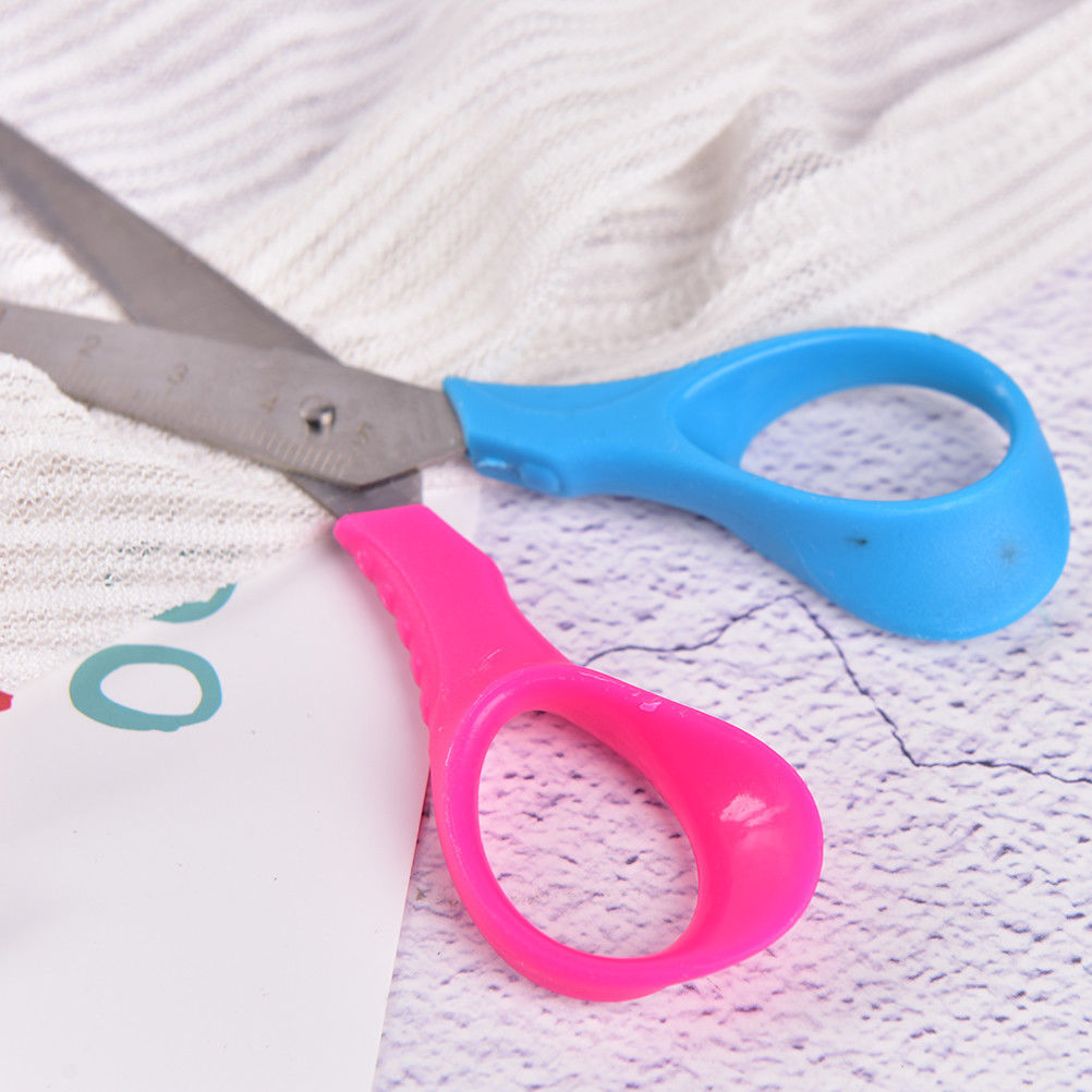 Peerless Safety Plastic Elastic Small Scissors Round Head Scissors Cut Paper For Children Hand-made 3colors School Supply Office & School Supplies Cutting Supplies