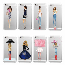 Classy Princess Long legs Shopping Cute Tall Girl  Umbrella Phone Case Cover For iPhone 7 7Plus 6 6S 6Plus 5 5S SE 5C 4 4S