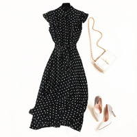 Women vintage fashion polka dot black dress short sleeve sashes elegant midi dresses 2019 summer