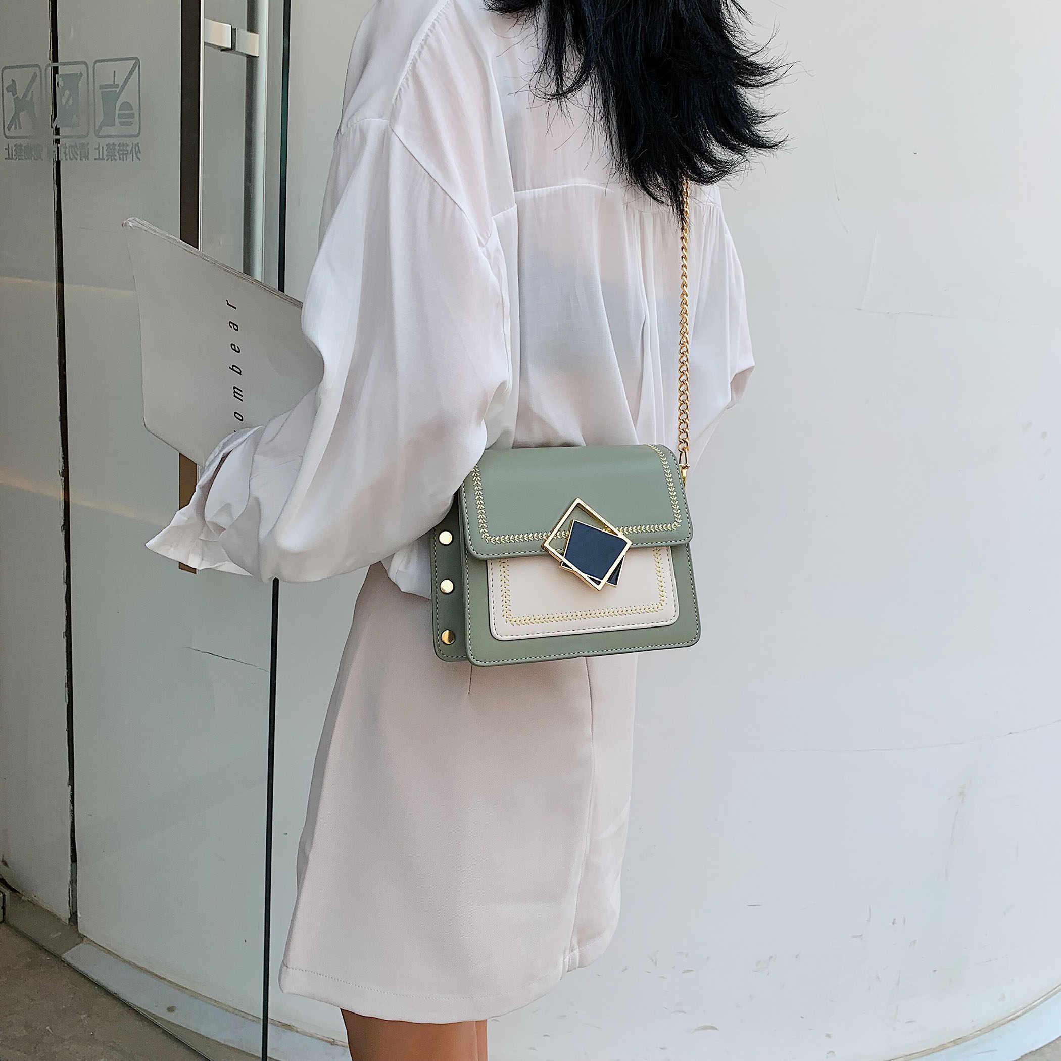 チェーン Pu レザークロスボディバッグ女性 2019 小さなショルダーメッセンジャーバッグ、特殊なロックデザイン女性旅行ハンドバッグ