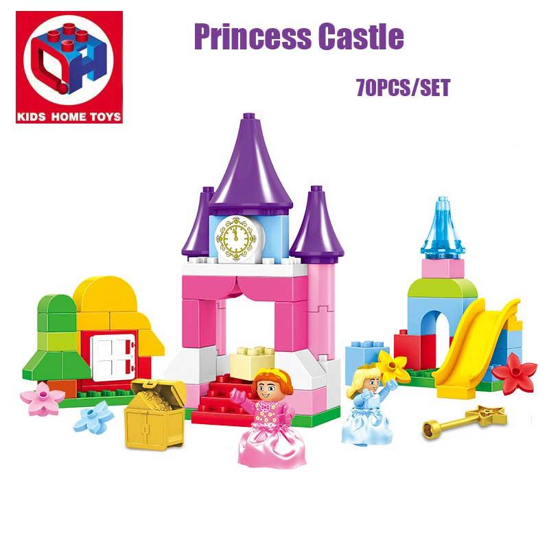 Kid's Home Toys 70PCS Large Size Princess Girl's Castle Model Princess Figures Building Blocks Bricks Toy Compatible Duplo