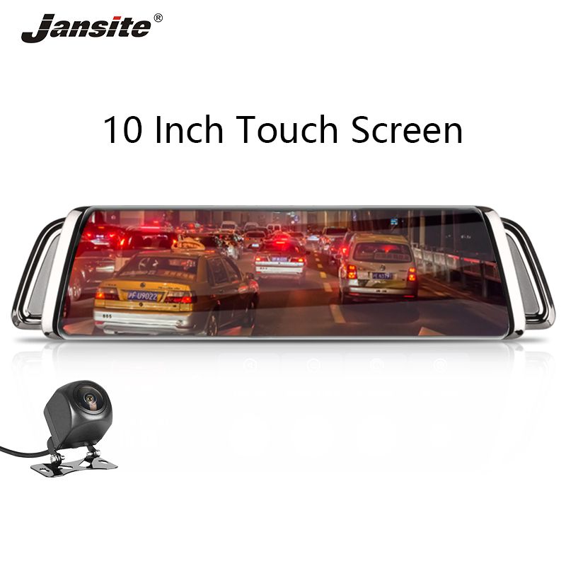 Jansite 10 inches Touch screen Car DVR FHD Front 1080P with Rear camera 1080P Dual lens