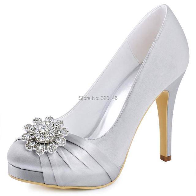 mujer zapatos azul marino plata tacón alto plataforma boda